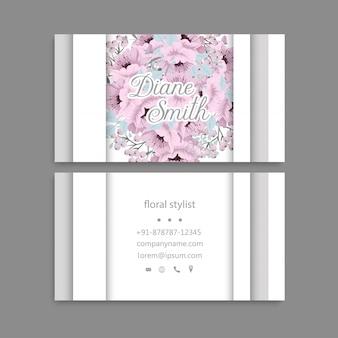Visite cartão com flores