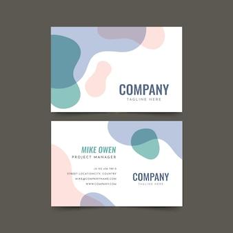 Visite o cartão da empresa com manchas de cor líquida