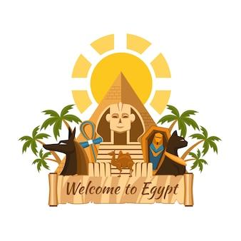 Visite o egito. atrações turísticas egípcias. esfinge e pirâmides, palmeiras e múmias