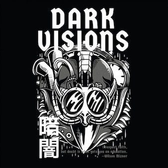 Visões escuras preto e branco