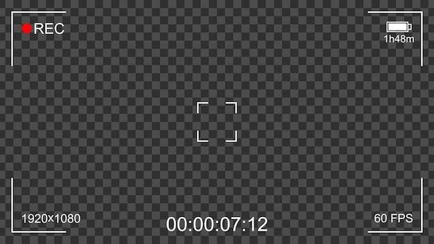 Visor da interface de gravação da câmera com fundo transparente