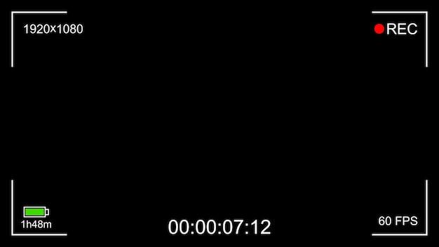 Visor de interface de gravação de câmera preta com foco digital