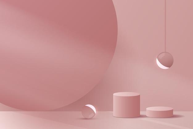 Visor de pódio premium e mínimo cosmético de fundo rosa para a marca de apresentação do produto