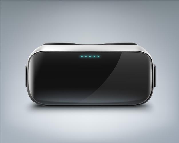 Visor óptico tipo head-mounted ou óculos de realidade virtual visão frontal isolada no fundo