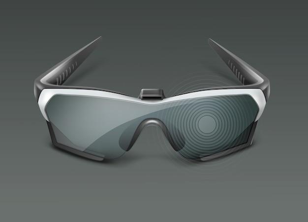 Visor óptico tipo head-mounted ou óculos inteligentes de realidade aumentada visão frontal isolada em fundo escuro