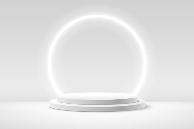 Visor redondo branco abstrato para apresentação do produto