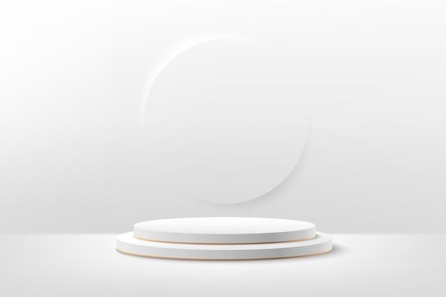 Visor redondo branco e dourado abstrato para apresentação do produto.