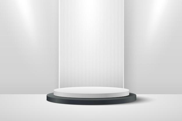 Visor redondo preto e branco abstrato para apresentação do produto