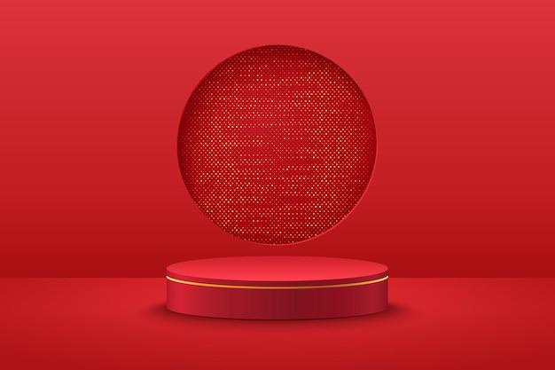 Visor redondo vermelho e dourado abstrato para apresentação do produto.