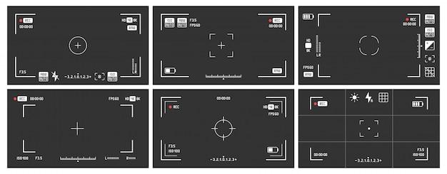 Visores de câmeras de vídeo. quadro de visualização de gravação, tela de visualização de gravação de cinema e conjunto de vetores de visor dslr cam