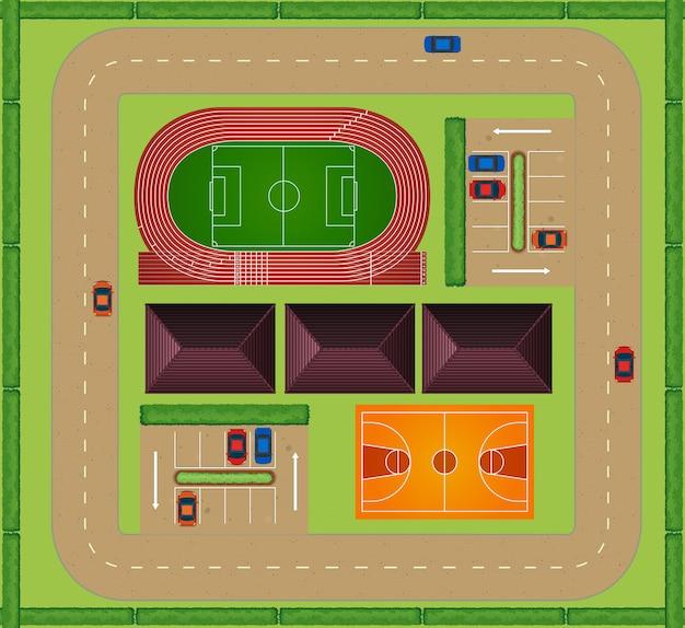 Vista aérea da instalação esportiva