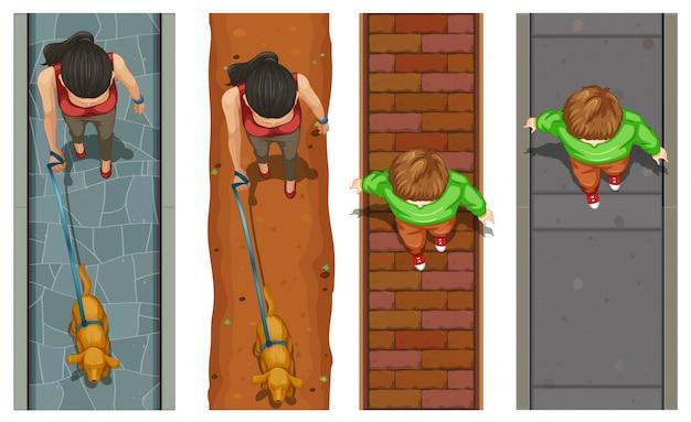 Vista aérea das pessoas que andam na ilustração do pavimento