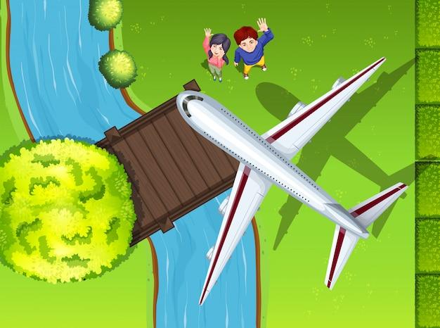 Vista aérea, de, avião, voando, sobre, a, parque