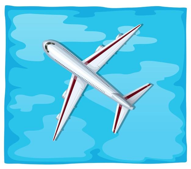 Vista aérea de avião voando sobre o mar