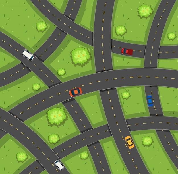 Vista aérea, de, carros, estradas
