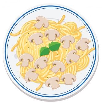 Vista aérea de comida no prato