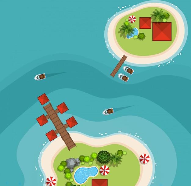 Vista aérea, de, dois, ilhas, mar