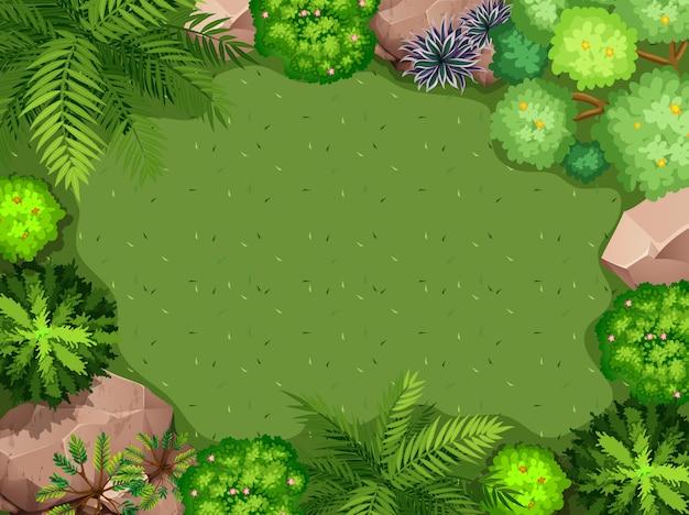 Vista aérea, de, jardim, fundo