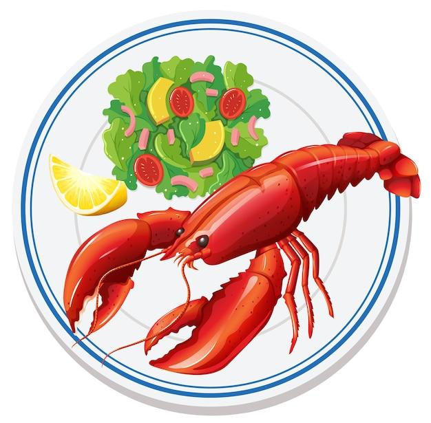 Vista aérea de salada de lagosta