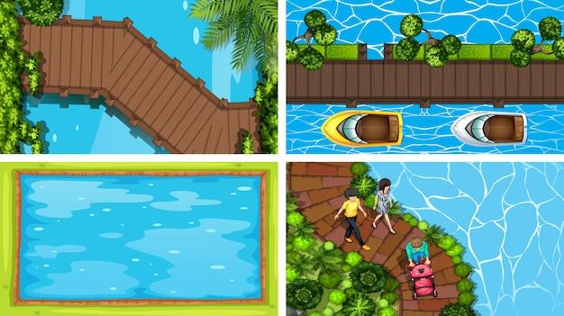 Vista aérea, de, verão, fundo, jogo