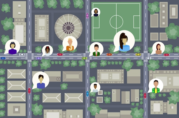 Vista aérea do olho de pássaro ou plano do centro da cidade edifícios modernos ruas e carros na estrada usuários perfil avatares rede social comunicação conceito urbano mapa paisagem urbana vista superior ângulo vista horizontal