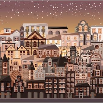 Vista colorida velha da cidade
