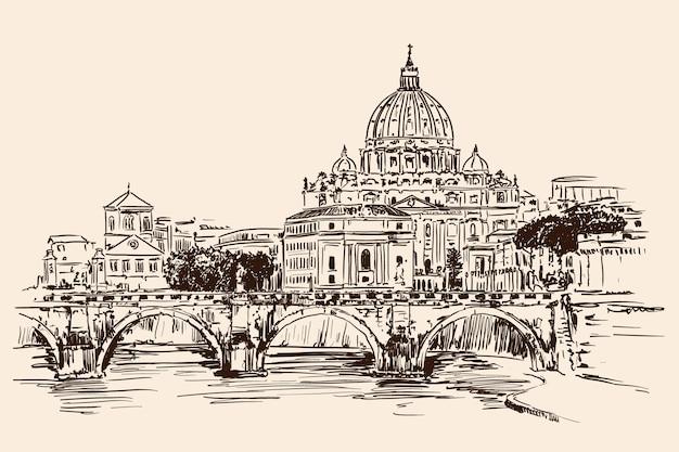 Vista da catedral de são pedro sobre o rio tibre, em roma. desenho rápido.