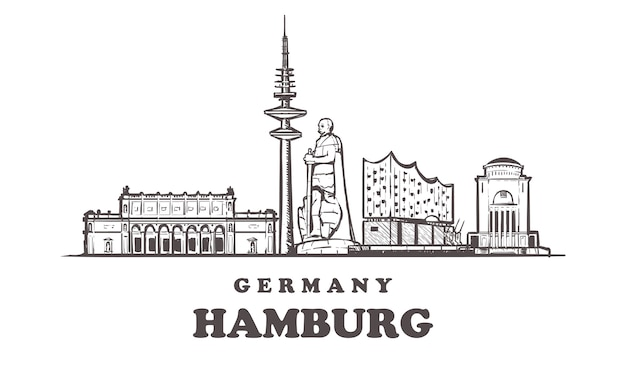 Vista da cidade de hamburgo, alemanha