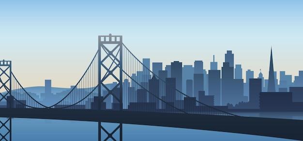 Vista da cidade de são francisco, ilustração da califórnia