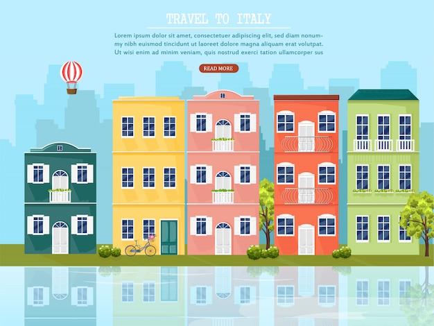 Vista da cidade de veneza e fachadas arquitetônicas