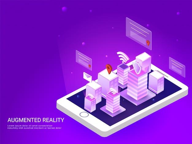 Vista da cidade inteligente na tela do smartphone.