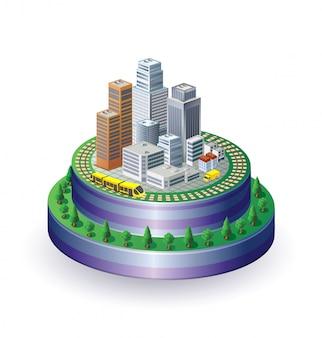 Vista da cidade isométrica