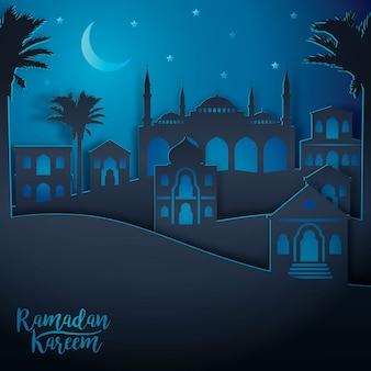 Vista da cidade paisagem árabe para ramadan kareem