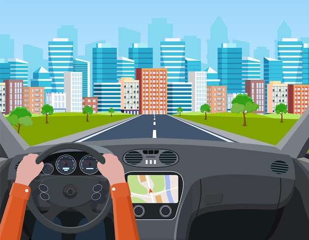 Vista da estrada do interior do carro