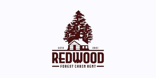 Vista da floresta com logotipo de aluguel de cabana para casa de aldeia