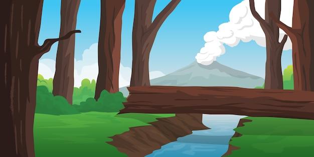 Vista da floresta com rio e montanha