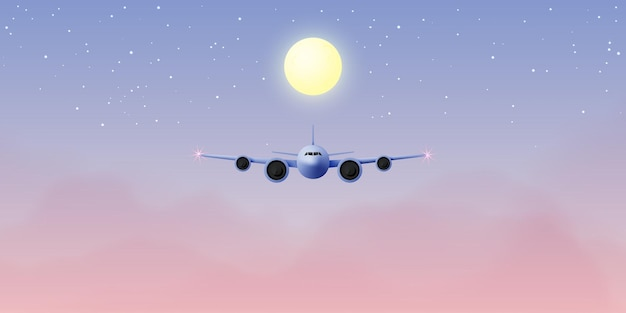 Vista da janela do avião com um lindo céu noturno e ilustração do fundo das estrelas