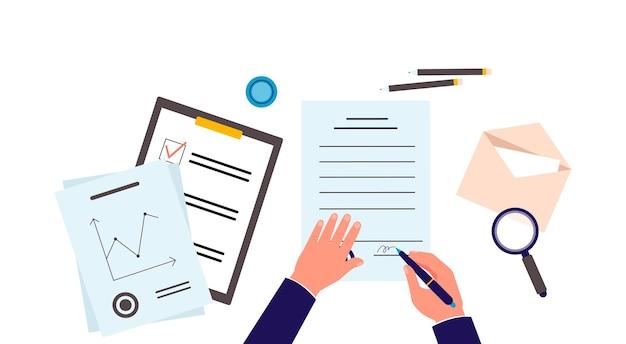 Vista da mesa com as mãos assinando ilustração vetorial plana de contrato isolada