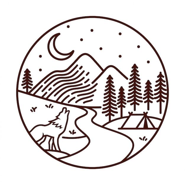 Vista da montanha na ilustração de linha à noite Vetor Premium