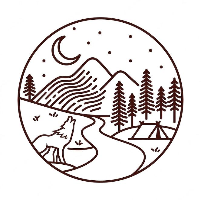 Vista da montanha na ilustração de linha à noite