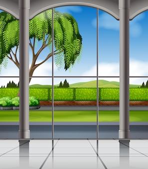 Vista da natureza a partir da janela Vetor grátis