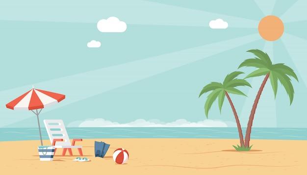 Vista da paisagem da praia de verão com mar, guarda-chuva, bola e espreguiçadeira. ilustração plana de férias perfeitas.