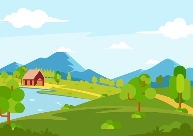 Vista da paisagem da primavera ensolarada Vetor Premium
