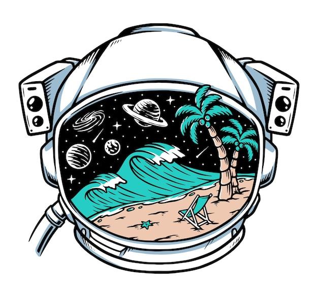 Vista da praia com capacete de astronauta