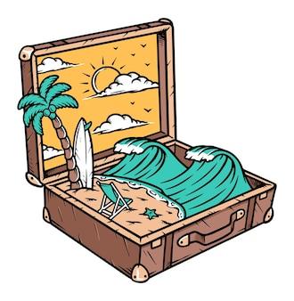 Vista da praia na ilustração de mala velha