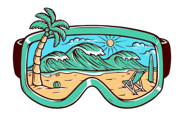 Vista da praia na ilustração de óculos