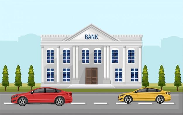 Vista da rua do banco. carros, ao ar livre, apartamento, estilo, ilustração