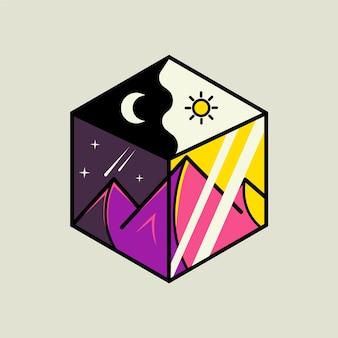 Vista das montanhas de dia e à noite em ilustração de vidro hexagonal
