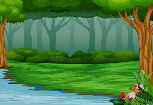 Vista, de, a, bonito, parque, por, a, rio