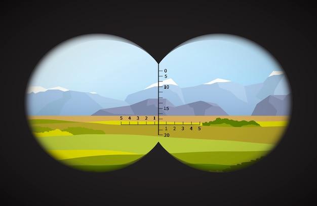 Vista de binóculos na paisagem com campos